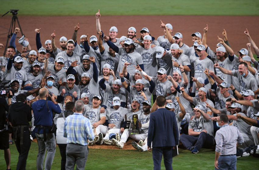 Oct 17, 2020; San Diego, California, USA; Tampa Bay Rays celebrate the victory against the Houston Astros following game seven of the 2020 ALCS at Petco Park. Mandatory Credit: Orlando Ramirez-USA TODAY Sports