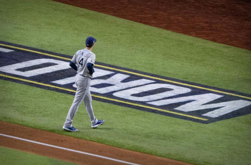 Oct 27, 2020; Arlington, Texas, USA; Tampa Bay Rays starting pitcher Blake Snell (4) walks off the field after he pitches against the Los Angeles Dodgers during the fourth inning in game six of the 2020 World Series at Globe Life Field. Mandatory Credit: Jerome Miron-USA TODAY Sports