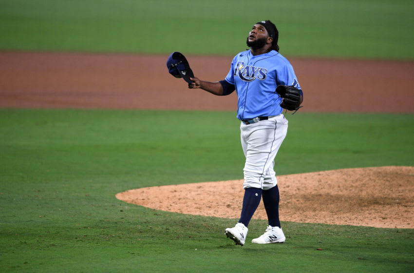 Tampa Bay Rays relief pitcher Diego Castillo reacts against the Houston Astros during the ninth inning in game one of the 2020 ALCS at Petco Park. Mandatory Credit: Orlando Ramirez-USA TODAY Sports