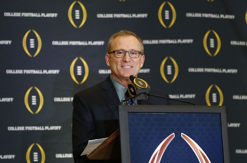 Dec 6, 2015; Grapevine, TX, USA; College football playoff selection committee chairman Jeff Long speaks to the media during selection day at the Gaylord Texan Hotel. Mandatory Credit: Kevin Jairaj-USA TODAY Sports