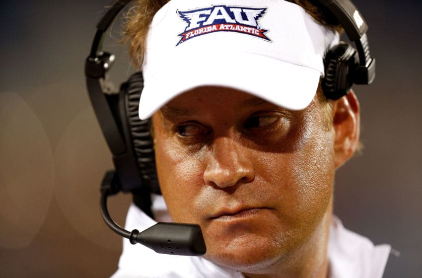 BOCA RATON, FL - SEPTEMBER 15: Head coach Lane Kiffin of the Florida Atlantic Owls looks on against the Bethune Cookman Wildcats during the second half at FAU Stadium on September 15, 2018 in Boca Raton, Florida. (Photo by Michael Reaves/Getty Images)