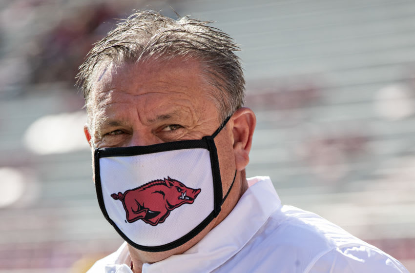 FAYETTEVILLE, AR - OCTOBER 17: Head Coach Sam Pittman of the Arkansas Razorbacks on the field before a game against the Mississippi Rebels at Razorback Stadium on October 17, 2020 in Fayetteville, Arkansas. The Razorbacks defeated the Rebels 33-21. (Photo by Wesley Hitt/Getty Images)