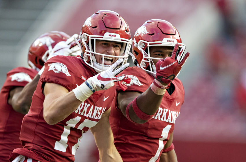 FAYETTEVILLE, AR - OCTOBER 17: Hudson Clark #17 of the Arkansas Razorbacks celebrates his third interception during a game against the Mississippi Rebels at Razorback Stadium on October 17, 2020 in Fayetteville, Arkansas. The Razorbacks defeated the Rebels 33-21. (Photo by Wesley Hitt/Getty Images)