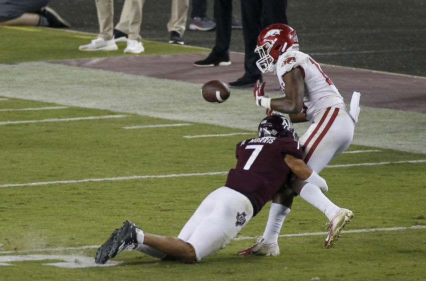 COLLEGE STATION, TEXAS - OCTOBER 31: Devin Morris #7 of the Texas A&M Aggies breaks up a pass intended for Treylon Burks #16 of the Arkansas Razorbacks in the second half at Kyle Field on October 31, 2020 in College Station, Texas. (Photo by Tim Warner/Getty Images)