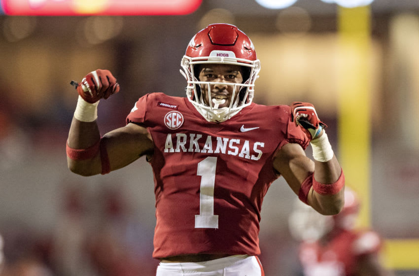 FAYETTEVILLE, AR - NOVEMBER 7: Jalen Catalon #1 of the Arkansas Razorbacks celebrates a big play during a game against the Tennessee Volunteers at Razorback Stadium on November 7, 2020 in Fayetteville, Arkansas. The Razorbacks defeated the Volunteers 24-13. (Photo by Wesley Hitt/Getty Images)