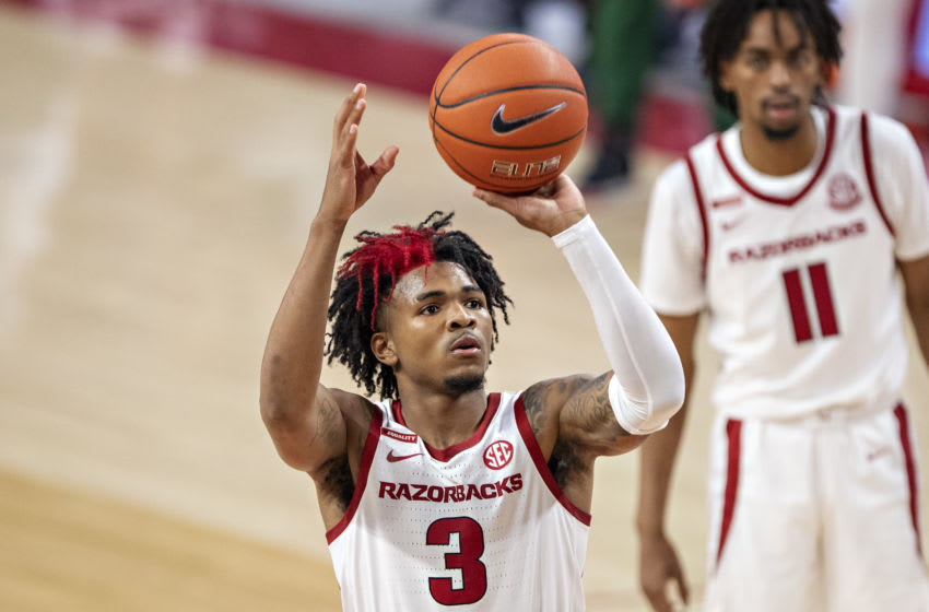 FAYETTEVILLE, AR - NOVEMBER 25: Desi Sills #3 of the Arkansas Razorbacks shoots a free throw during a game against the Mississippi State Valley Delta Devils at Bud Walton Arena on November 25, 2020 in Fayetteville, Arkansas. The Razorbacks defeated the Delta Devils 142-62. (Photo by Wesley Hitt/Getty Images)