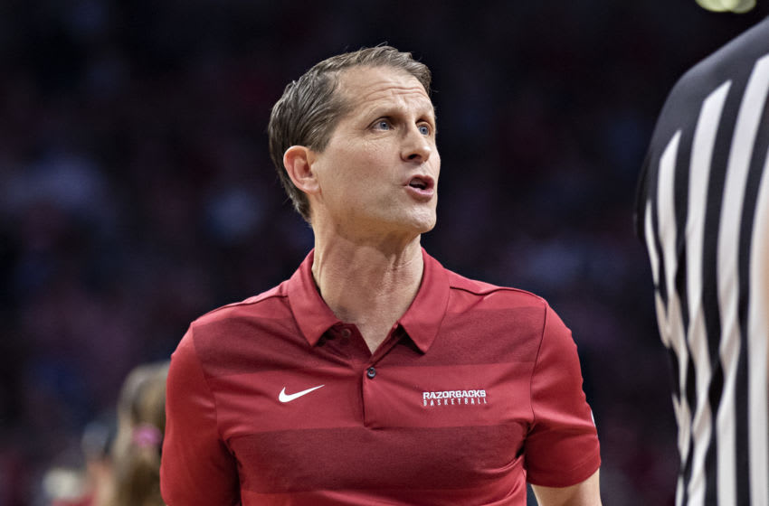 FAYETTEVILLE, AR - MARCH 4: Head Coach Eric Musselman of the Arkansas Razorbacks reacts to a call during a game against the LSU Tigers at Bud Walton Arena on March 4, 2020 in Fayetteville, Arkansas. The Razorbacks defeated the Tigers 99-90. (Photo by Wesley Hitt/Getty Images)