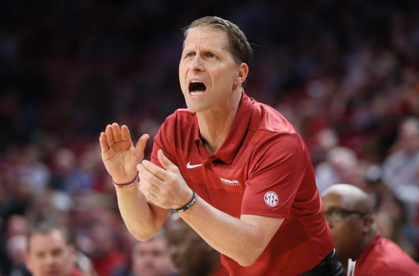 Mar 4, 2020; Fayetteville, Arkansas, USA; Arkansas Razorbacks heat coach Eric Musselman reacts to a play during the first half against the LSU Tigers at Bud Walton Arena. Mandatory Credit: Nelson Chenault-USA TODAY Sports