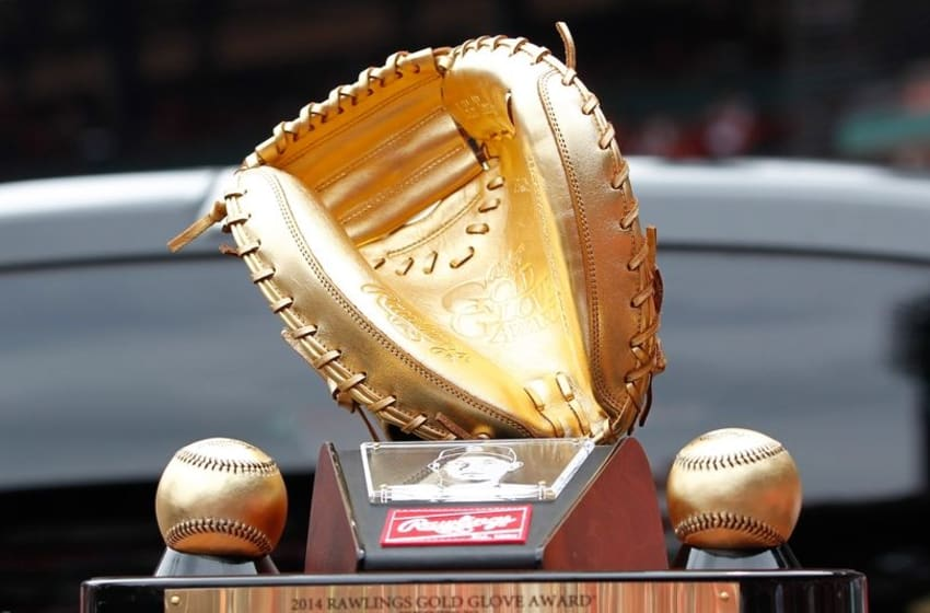 Apr 18, 2015; St. Louis, MO, USA; A detailed view of St. Louis Cardinals catcher Yadier Molina 2014 gold glove award presented to him prior to the game against the Cincinnati Reds at Busch Stadium. Mandatory Credit: Billy Hurst-USA TODAY Sports