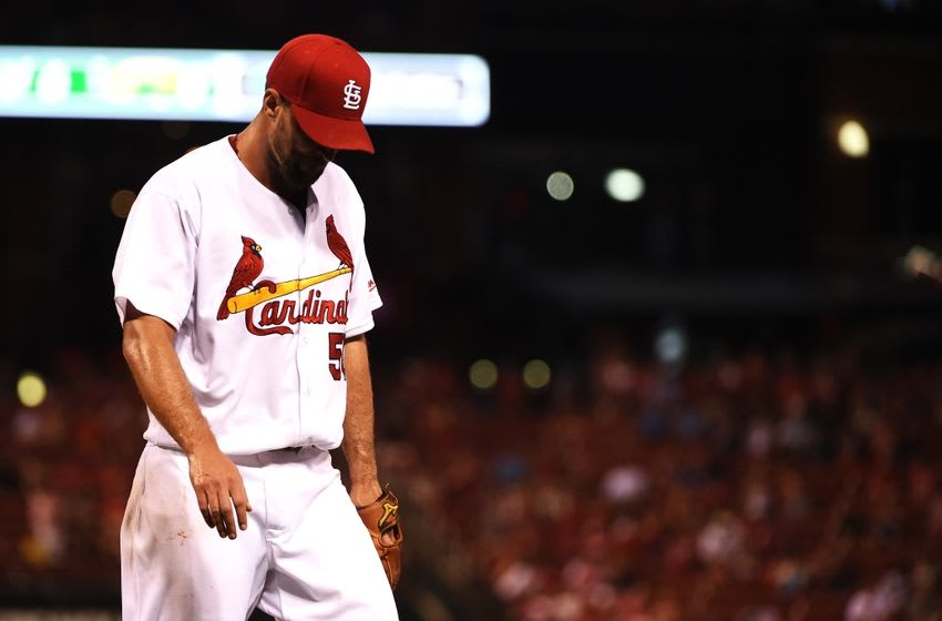 Aug 25, 2016; St. Louis, MO, USA; St. Louis Cardinals starting pitcher Adam Wainwright (50) walks off the mound after the fifth inning against the New York Mets at Busch Stadium. Mandatory Credit: Jeff Curry-USA TODAY Sports
