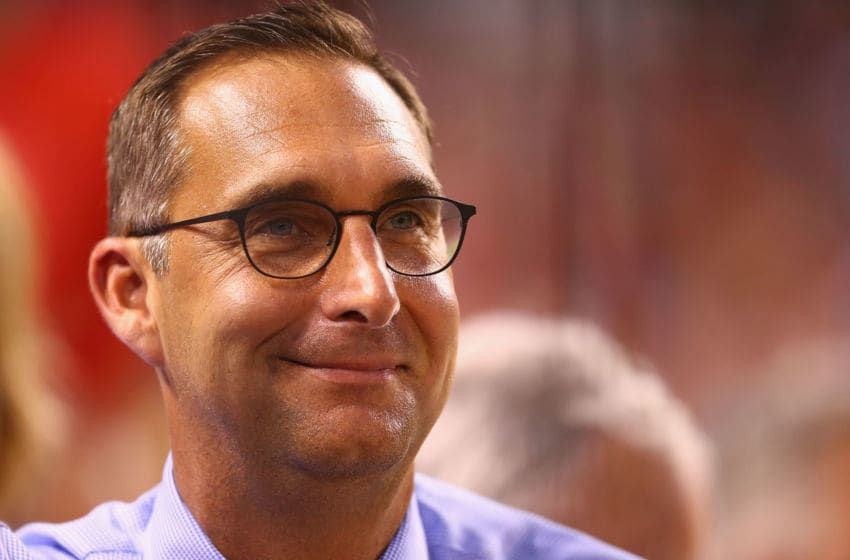 ST. LOUIS, MO - JULY 28: St. Louis Cardinals general manager John Mozeliak looks on from the stands during a game against the Cincinnati Reds at Busch Stadium on July 28, 2015 in St. Louis, Missouri. (Photo by Dilip Vishwanat/Getty Images)