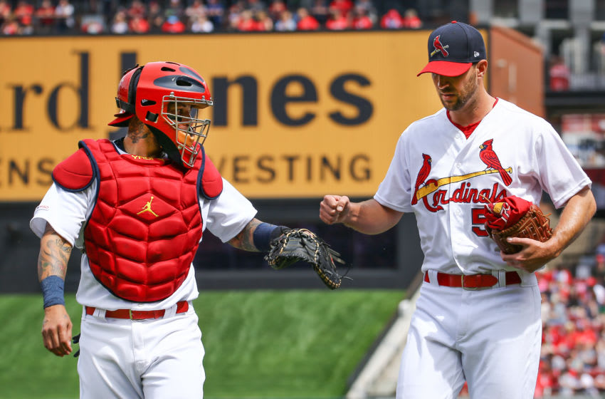ST. LOUIS, MO - APRIL 07: St. Louis Cardinals catcher Yadier Molina (4) and St. Louis Cardinals starting pitcher Adam Wainwright (50) as seen prior to the game between the St. Louis Cardinals and San Diego Padres on April 07, 2019 at Bush Stadium in Saint Louis Mo. (Photo by Jimmy Simmons/Icon Sportswire via Getty Images)