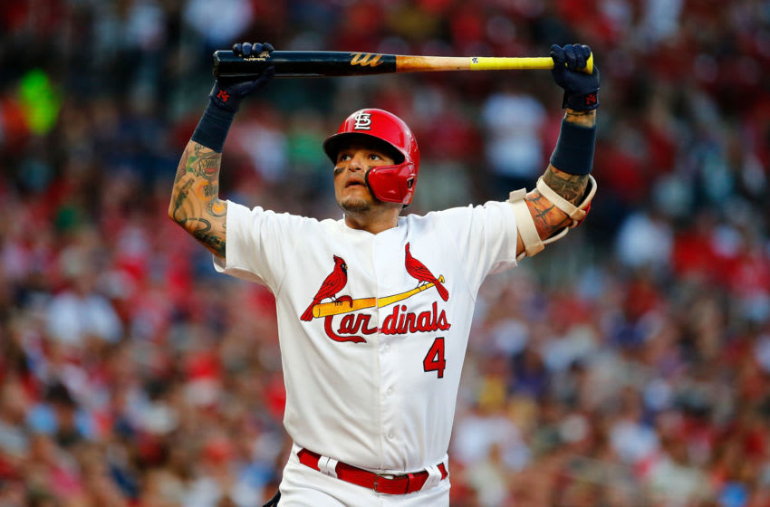 ST LOUIS, MO - MAY 24: Yadier Molina #4 of the St. Louis Cardinals reacts after striking out against the Atlanta Braves in the first inning at Busch Stadium on May 24, 2019 in St Louis, Missouri. (Photo by Dilip Vishwanat/Getty Images)