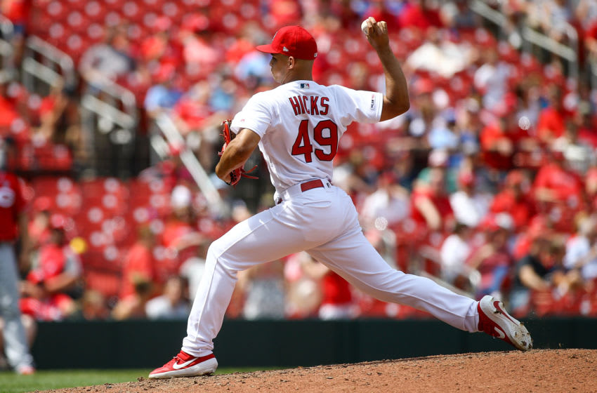 Jordan Hicks #49 of the St. Louis Cardinals pitches during the ninth inning against the Cincinnati Reds at Busch Stadium on June 6, 2019 in St. Louis, Missouri. (Photo by Scott Kane/Getty Images)