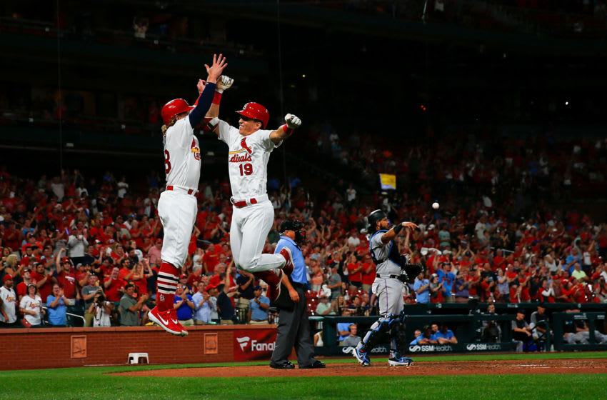 ST LOUIS, MO - JUNE 20: Tommy Edman #19 of the St. Louis Cardinals is congratulated after hitting his first career MLB home run in the eighth inning during a game against the Miami Marlins at Busch Stadium on June 20, 2019 in St Louis, Missouri. (Photo by Dilip Vishwanat/Getty Images)