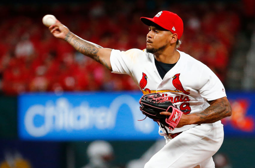ST LOUIS, MO - JULY 16: Carlos Martinez #18 of the St. Louis Cardinals delivers a pitch against the Pittsburgh Pirates in the ninth inning at Busch Stadium on July 16, 2019 in St Louis, Missouri. (Photo by Dilip Vishwanat/Getty Images)