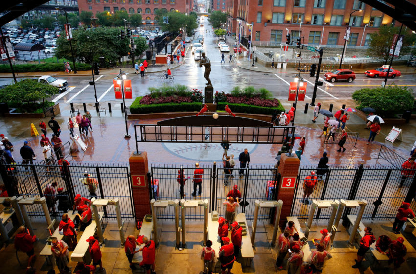 ST LOUIS, MO - AUGUST 30: Fans leave game Busch Stadium after a game between the St. Louis Cardinals and the Cincinnati Reds was cancelled due heavy rainfall at on August 30, 2019 in St Louis, Missouri. (Photo by Dilip Vishwanat/Getty Images)