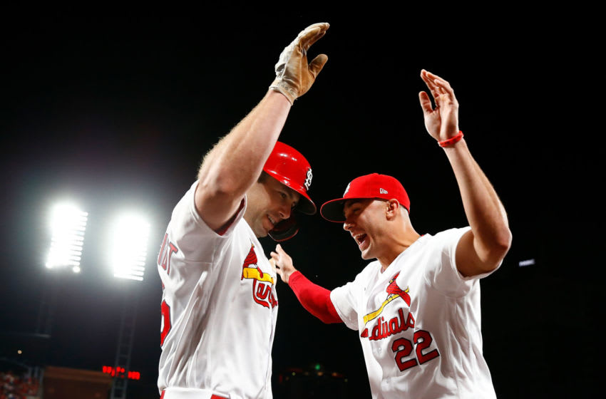ST LOUIS, MO - SEPTEMBER 13: Jack Flaherty #22 of the St. Louis Cardinals congratulates Paul Goldschmidt #46 of the St. Louis Cardinals after Goldschmidt hits a grand slam against the Milwaukee Brewers in the third inning at Busch Stadium on September 13, 2019 in St Louis, Missouri. (Photo by Dilip Vishwanat/Getty Images)