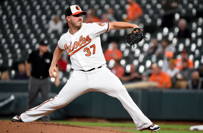 BALTIMORE, MD - SEPTEMBER 18: Dylan Bundy #37 of the Baltimore Orioles pitches during the first inning against the Toronto Blue Jays at Oriole Park at Camden Yards on September 18, 2019 in Baltimore, Maryland. (Photo by Will Newton/Getty Images)