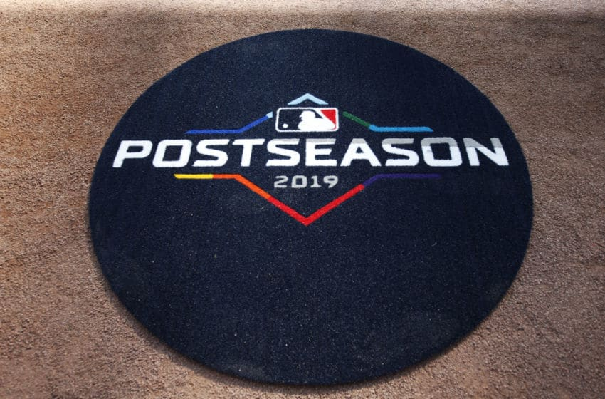 ATLANTA, GA - OCTOBER 03: A detail shot of the on deck circle with the 2019 Postseason logo prior to the NLDS Game 1 between the St. Louis Cardinals and the Atlanta Braves at SunTrust Park on Thursday, October 3, 2019 in Atlanta, Georgia. (Photo by Mike Zarrilli/MLB Photos via Getty Images)