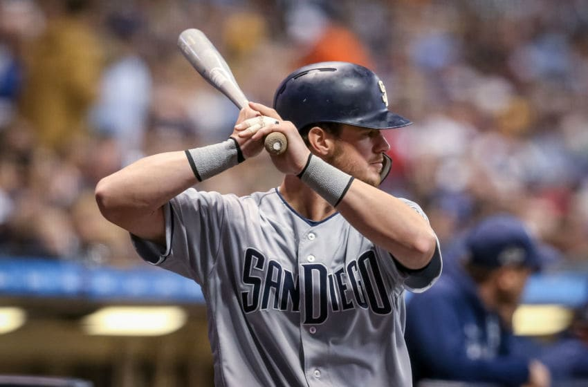 MILWAUKEE, WISCONSIN - SEPTEMBER 16: Wil Myers #4 of the San Diego Padres waits in the on deck circle in the fourth inning against the Milwaukee Brewers at Miller Park on September 16, 2019 in Milwaukee, Wisconsin. (Photo by Dylan Buell/Getty Images)