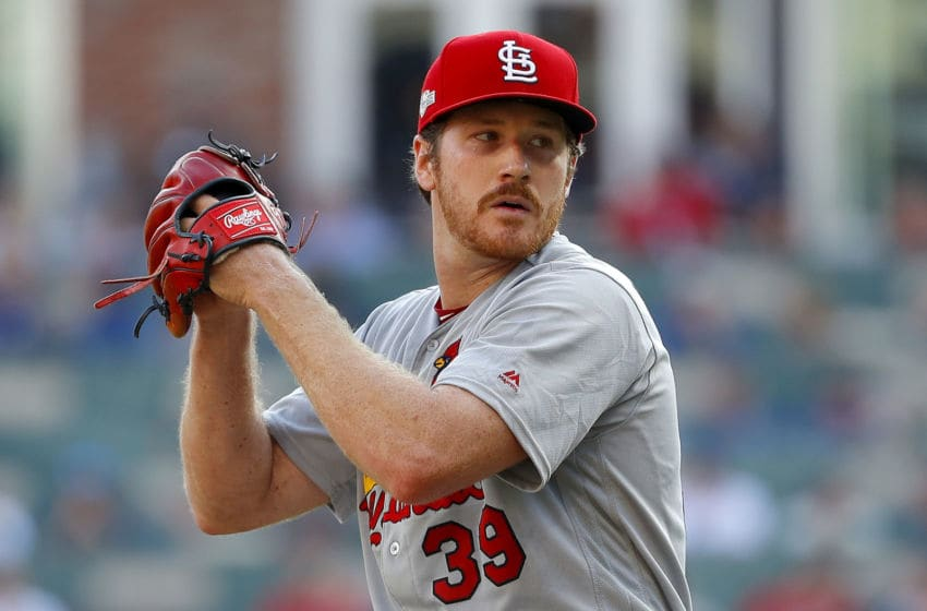 ATLANTA, GEORGIA - OCTOBER 03: Miles Mikolas #39 of the St. Louis Cardinals delivers the pitch during the first inning against the Atlanta Braves in game one of the National League Division Series at SunTrust Park on October 03, 2019 in Atlanta, Georgia. (Photo by Kevin C. Cox/Getty Images)