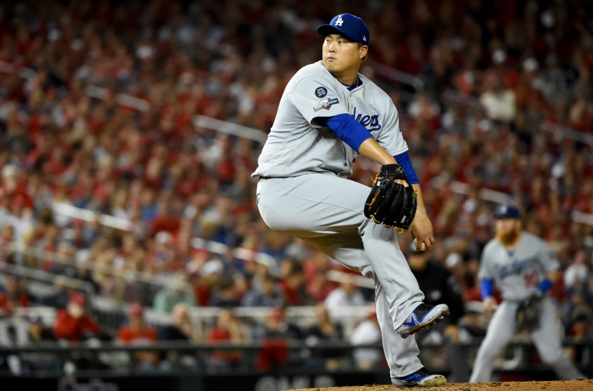 WASHINGTON, DC - OCTOBER 06: Hyun-Jin Ryu #99 of the Los Angeles Dodgers pitches against the Washington Nationals in game three of the National League Division Series at Nationals Park on October 6, 2019 in Washington, DC. (Photo by Will Newton/Getty Images)