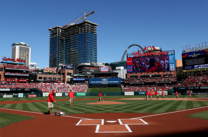 ST LOUIS, MISSOURI - OCTOBER 12: A general view of Busch Stadium is seen as grounds keepers tend to the field before game two of the National League Championship Series between the Washington Nationals and the St. Louis Cardinals on October 12, 2019 in St Louis, Missouri. (Photo by Jamie Squire/Getty Images)