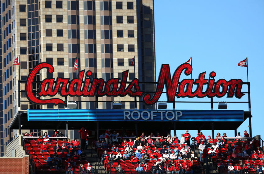 ST LOUIS, MISSOURI - OCTOBER 12: Atmosphere of Busch Stadium is seen during game two of the National League Championship Series between the Washington Nationals and the St. Louis Cardinals on October 12, 2019 in St Louis, Missouri. (Photo by Jamie Squire/Getty Images)