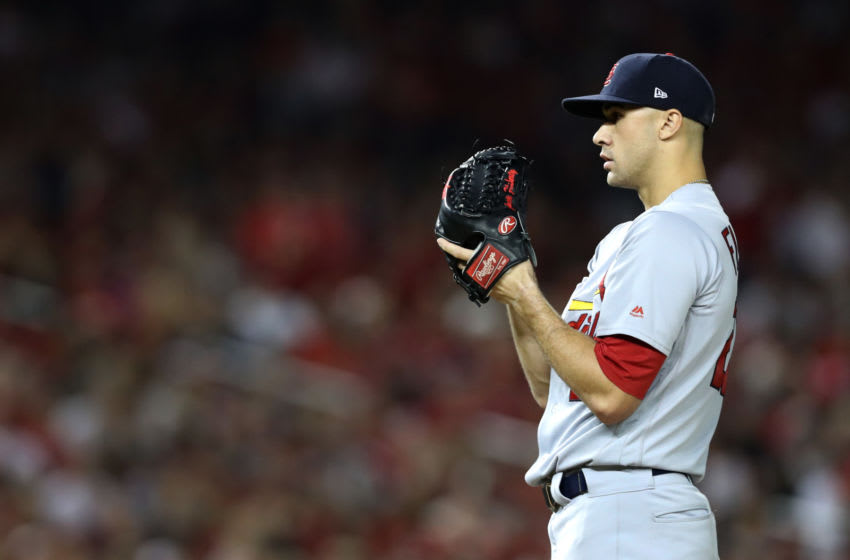WASHINGTON, DC - OCTOBER 14: Jack Flaherty #22 of the St. Louis Cardinals prepare to pitch against the Washington Nationals during the fourth inning of game three of the National League Championship Series at Nationals Park on October 14, 2019 in Washington, DC. (Photo by Rob Carr/Getty Images)