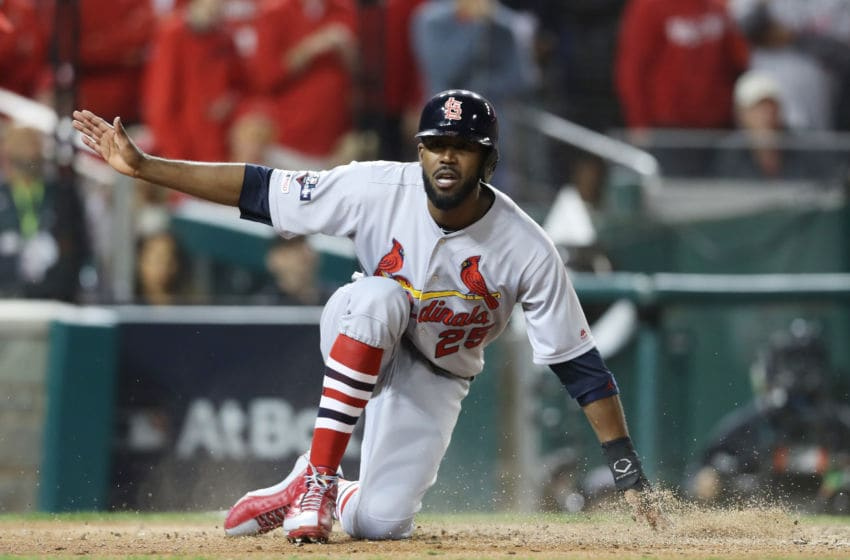 WASHINGTON, DC - OCTOBER 15: Dexter Fowler #25 of the St. Louis Cardinals scores on a double by Carlos Martinez (not pictured) #18 in the fifth inning against the Washington Nationals during game four of the National League Championship Series at Nationals Park on October 15, 2019 in Washington, DC. (Photo by Rob Carr/Getty Images)