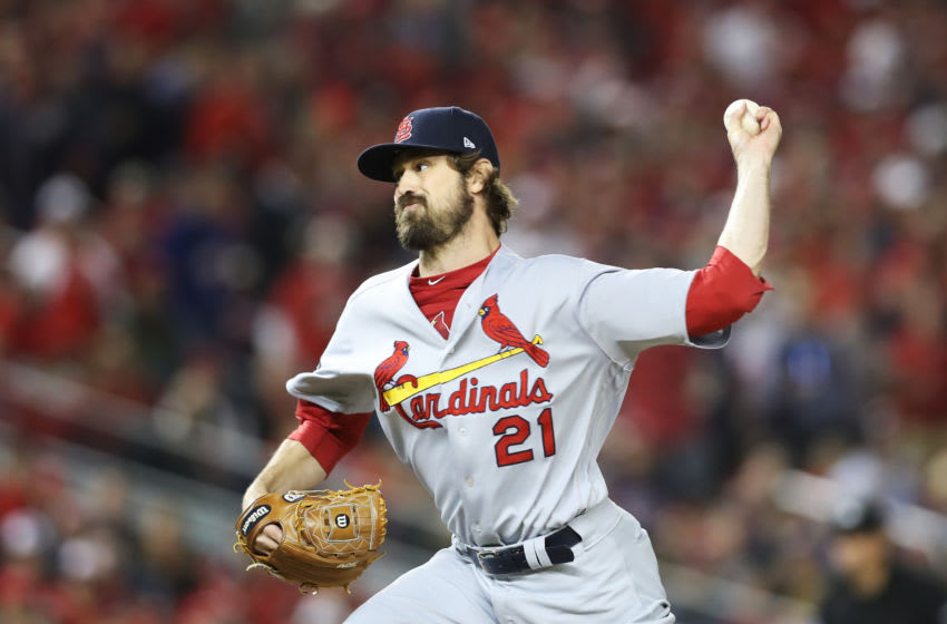 WASHINGTON, DC - OCTOBER 15: Andrew Miller #21 of the St. Louis Cardinals delivers a pitch in the seventh inning against the Washington Nationals during game four of the National League Championship Series at Nationals Park on October 15, 2019 in Washington, DC. (Photo by Rob Carr/Getty Images)