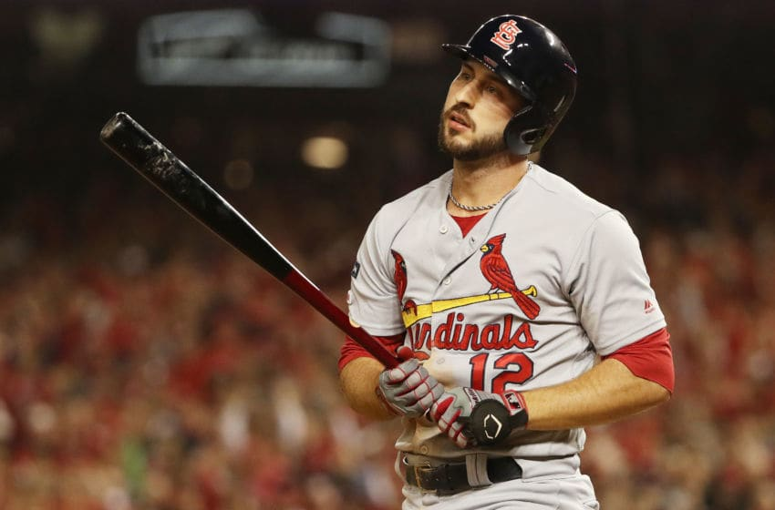 WASHINGTON, DC - OCTOBER 15: Paul DeJong #12 of the St. Louis Cardinals reacts after striking out in the second inning against the Washington Nationals during game four of the National League Championship Series at Nationals Park on October 15, 2019 in Washington, DC. (Photo by Patrick Smith/Getty Images)