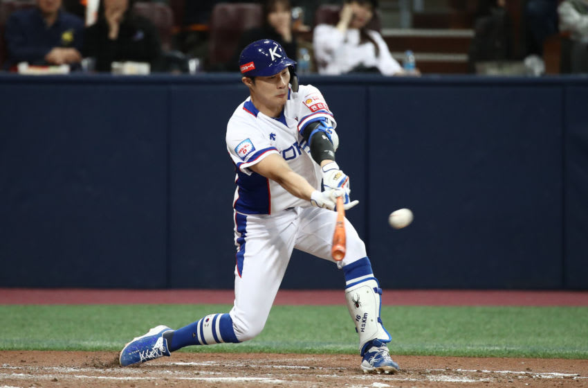 SEOUL, SOUTH KOREA - NOVEMBER 08: Infielder Kim Ha-Seong #16 of South Korea hits a RBI single to make it 2-0 in the bottom of the second inning during the WBSC Premier 12 Opening Round Group C game between South Korea and Cuba at the Gocheok Sky Dome on November 08, 2019 in Seoul, South Korea. (Photo by Chung Sung-Jun/Getty Images)