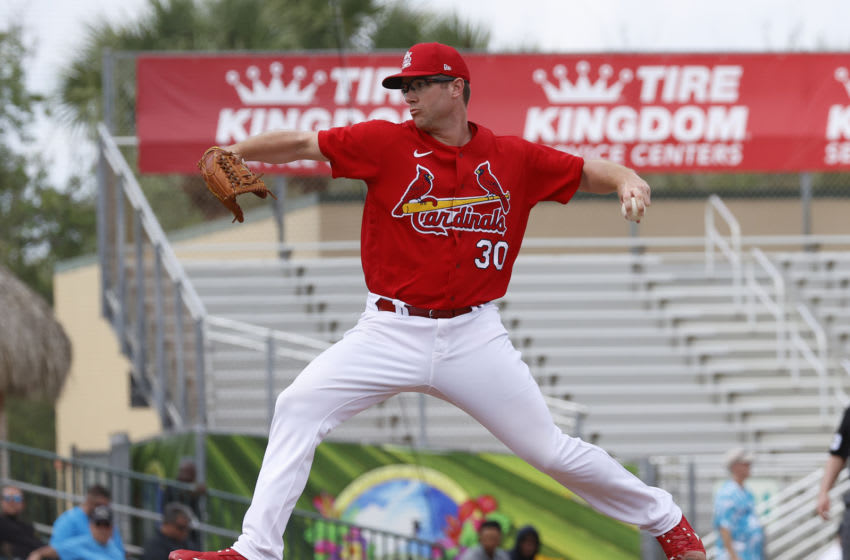 JUPITER, FL - FEBRUARY 26: Tyler Webb #30 of the St Louis Cardinals throws the ball against the Miami Marlins during a spring training game at Roger Dean Chevrolet Stadium on February 26, 2020 in Jupiter, Florida. (Photo by Joel Auerbach/Getty Images)