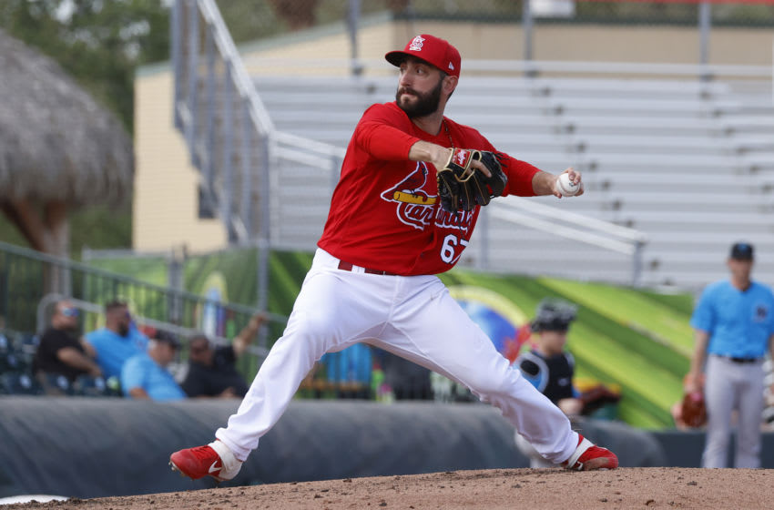 JUPITER, FL - FEBRUARY 26: Rob Kaminsky #67 of the St Louis Cardinals throws the ball against the Miami Marlins during a spring training game at Roger Dean Chevrolet Stadium on February 26, 2020 in Jupiter, Florida. The Marlins defeated the Cardinals 8-7. (Photo by Joel Auerbach/Getty Images)