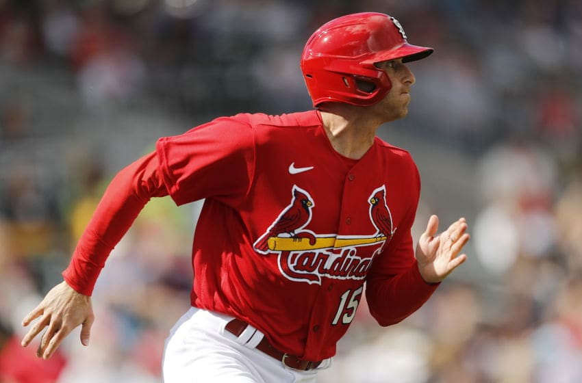 JUPITER, FLORIDA - FEBRUARY 22: Brad Miller #15 of the St. Louis Cardinals in action against the New York Mets during a spring training game at Roger Dean Stadium on February 22, 2020 in Jupiter, Florida. (Photo by Michael Reaves/Getty Images)