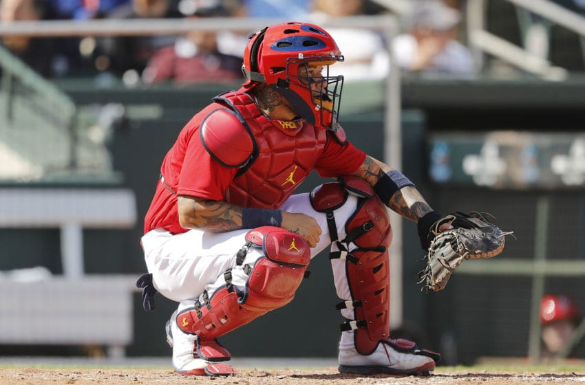 JUPITER, FLORIDA - FEBRUARY 22: Yadier Molina #4 of the St. Louis Cardinals in action against the New York Mets of a Grapefruit League spring training game at Roger Dean Stadium on February 22, 2020 in Jupiter, Florida. (Photo by Michael Reaves/Getty Images)