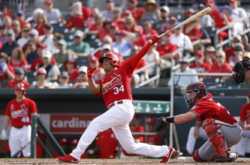 JUPITER, FL - FEBRUARY 25: Yairo Munoz #34 of the St Louis Cardinals hits a two-run home run in the fifth inning of a Grapefruit League spring training game against the Washington Nationals at Roger Dean Stadium on February 25, 2020 in Jupiter, Florida. (Photo by Joe Robbins/Getty Images)