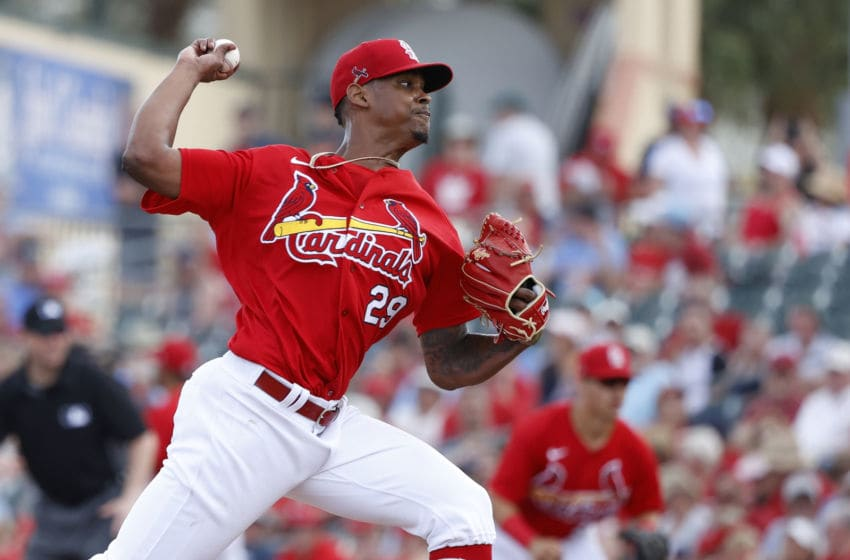 JUPITER, FL - FEBRUARY 25: Alex Reyes #29 of the St Louis Cardinals pitches in the fourth inning of a Grapefruit League spring training game against the Washington Nationals at Roger Dean Stadium on February 25, 2020 in Jupiter, Florida. (Photo by Joe Robbins/Getty Images)