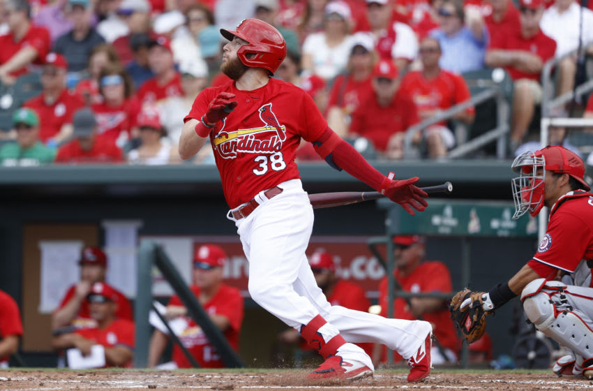 JUPITER, FL - FEBRUARY 25: Austin Dean #38 of the St Louis Cardinals bats during a Grapefruit League spring training game against the Washington Nationals at Roger Dean Stadium on February 25, 2020 in Jupiter, Florida. The Nationals defeated the Cardinals 9-6. (Photo by Joe Robbins/Getty Images)