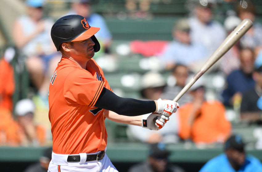 DUNEDIN, FLORIDA - FEBRUARY 29: Trey Mancini #16 of the Baltimore Orioles in action during the spring training game against the Miami Marlins at Ed Smith Stadium on February 29, 2020 in Sarasota, Florida. (Photo by Mark Brown/Getty Images)