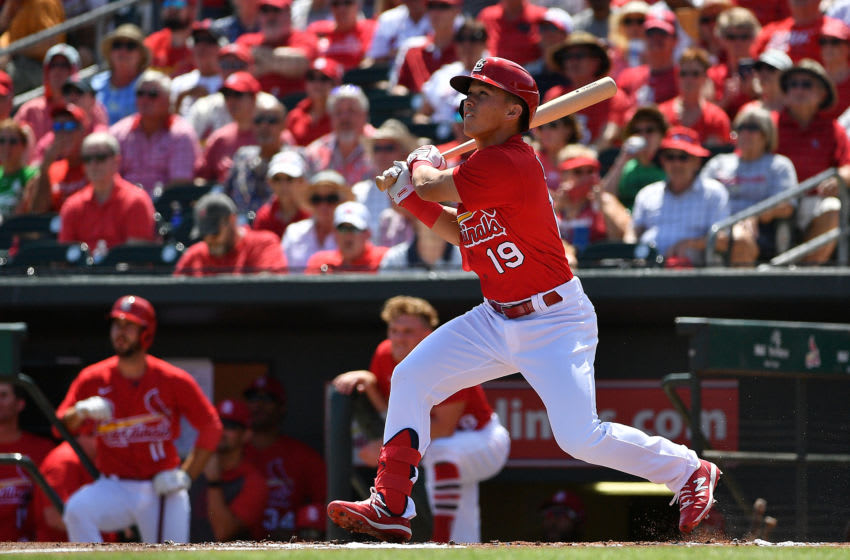 JUPITER, FLORIDA - MARCH 12: Tommy Edman #19 of the St. Louis Cardinals bats during the spring training game against the Miami Marlins at Roger Dean Chevrolet Stadium on March 12, 2020 in Jupiter, Florida. (Photo by Mark Brown/Getty Images)