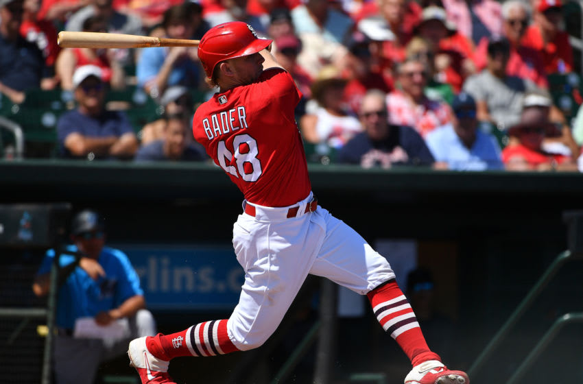 JUPITER, FLORIDA - MARCH 12: Harrison Bader #48 of the St. Louis Cardinals bats during the spring training game against the Miami Marlins at Roger Dean Chevrolet Stadium on March 12, 2020 in Jupiter, Florida. (Photo by Mark Brown/Getty Images)