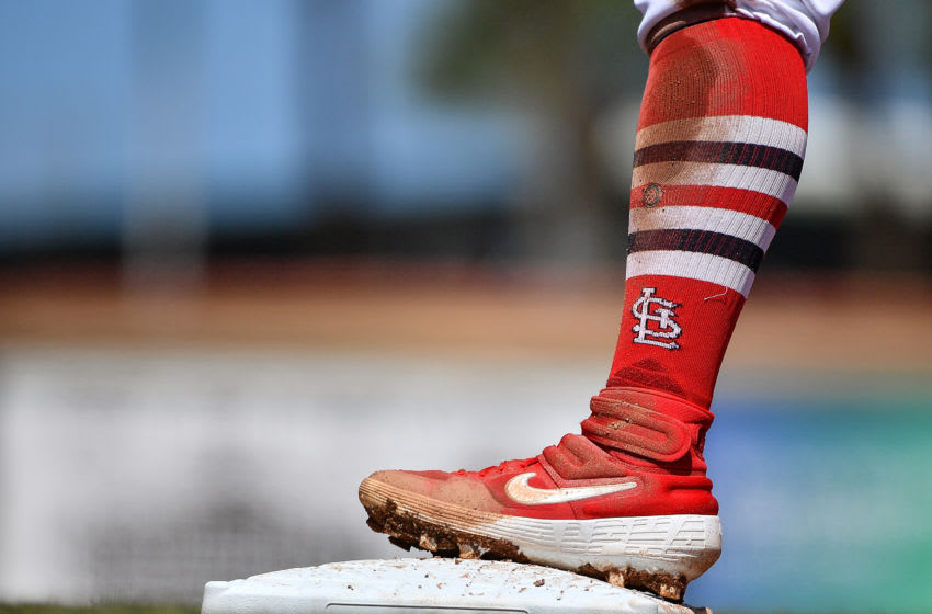 JUPITER, FLORIDA - MARCH 12: A detailed view of the Nike cleat worn by Kolten Wong #16 of the St. Louis Cardinals in action during the spring training game against the at Roger Dean Chevrolet Stadium on March 12, 2020 in Jupiter, Florida. (Photo by Mark Brown/Getty Images)