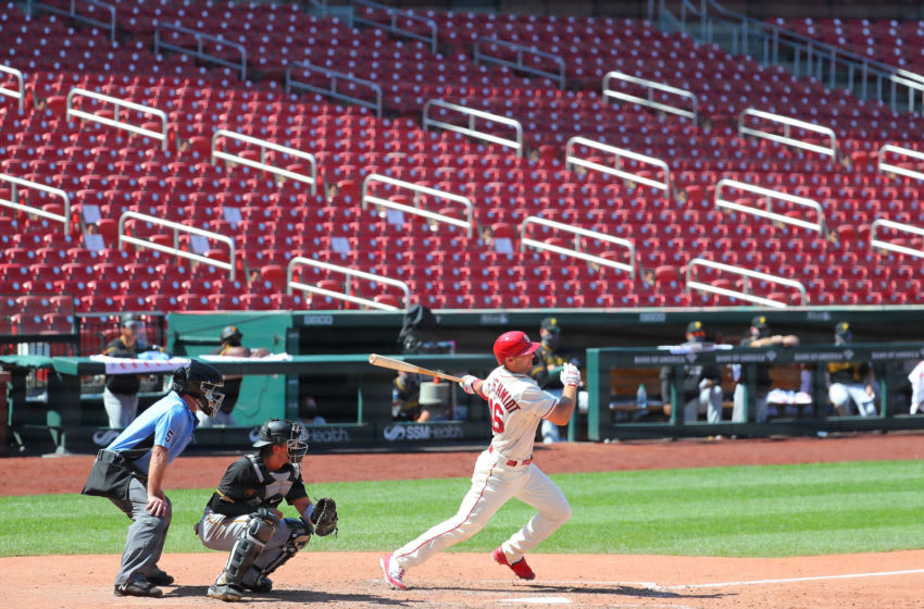 ST LOUIS, MO - JULY 25: Paul Goldschmidt #46 of the St. Louis Cardinals hits a single against the Pittsburgh Pirates seventh inning at Busch Stadium on July 25, 2020 in St Louis, Missouri. The 2020 season had been postponed since March due to the COVID-19 pandemic. (Photo by Dilip Vishwanat/Getty Images)