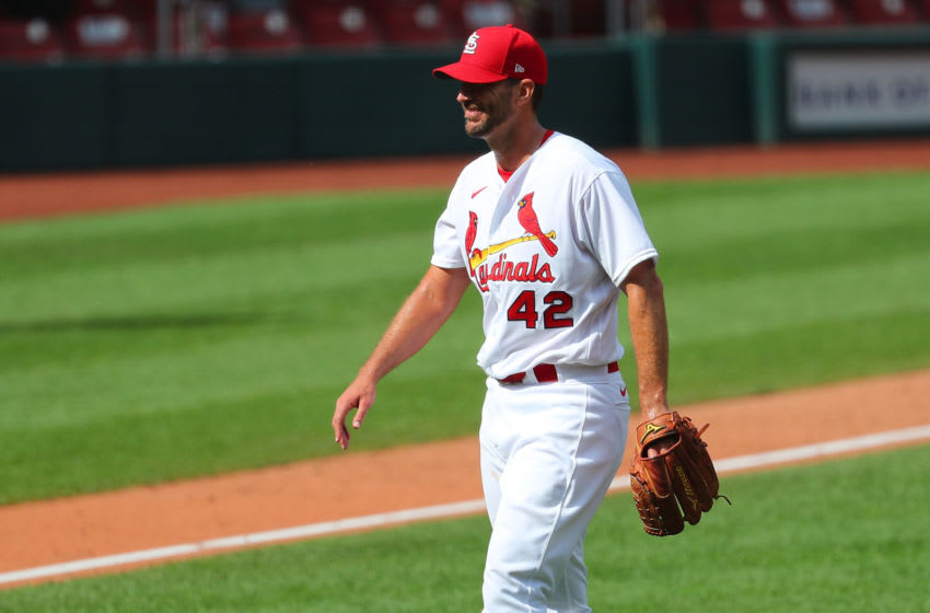 ST LOUIS, MO - AUGUST 30: Adam Wainwright #42 of the St. Louis Cardinals smiles after throwing a complete game against the Cleveland Indians at Busch Stadium on August 30, 2020 in St Louis, Missouri. All players are wearing #42 in honor of Jackie Robinson Day. The day honoring Jackie Robinson, traditionally held on April 15, was rescheduled due to the COVID-19 pandemic. (Photo by Dilip Vishwanat/Getty Images)