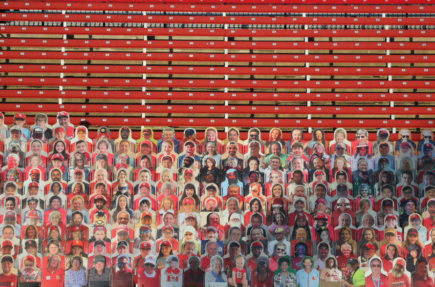 ST LOUIS, MO - SEPTEMBER 25: General view of fan cutouts in the bleachers at a game between the St. Louis Cardinals and the Milwaukee Brewers during game one of a doubleheader at Busch Stadium on September 25, 2020 in St Louis, Missouri. (Photo by Dilip Vishwanat/Getty Images)
