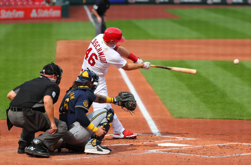 ST LOUIS, MO - SEPTEMBER 27: Paul Goldschmidt #46 of the St. Louis Cardinals drives in a run with a single against the Milwaukee Brewers in the third inning at Busch Stadium on September 27, 2020 in St Louis, Missouri. (Photo by Dilip Vishwanat/Getty Images)