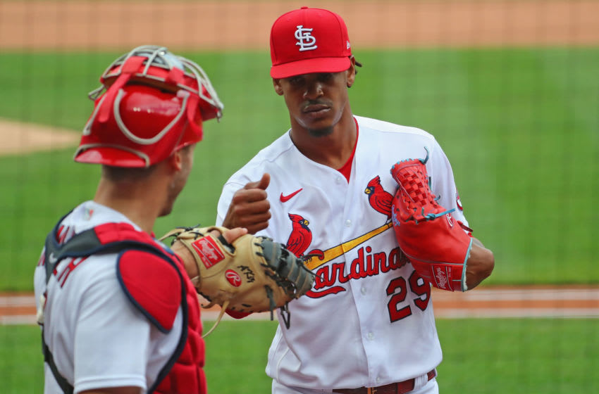 Alex Reyes #29 of the St. Louis Cardinals after recording the final out of the ninth inning against the Philadelphia Phillies at Busch Stadium on April 29, 2021 in St Louis, Missouri. (Photo by Dilip Vishwanat/Getty Images)